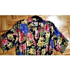 Vintage Pants - 1990s floral black elastic waist romper jumpsuit